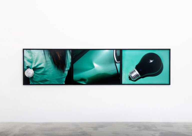 Viktoria Binschtok, Bottle, Bump & Bulb, 2017, 3 digital C-prints, 80 × 110 cm each Courtesy of Klemm's, Berlin